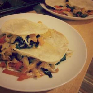Sweet Pepper and Spinach Quesadilla